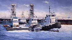 marine art nautical paintings yves berube tugs quebec city